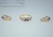 Conjunto de Anillo y Pendientes De Oro 18K  Ambos Con piedras Semi-Preciosas